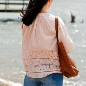 J.CREW Pink Eyelet Back Pullover Sweatshirt sz XS